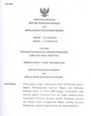Peraturan Bersama Mendiknas_03-V-PB-2010 dan Kepala BKN_14 tahun 2010 (tentang Petunjuk Pelaksanaan Jabatan Fungsional Guru dan Angka Kreditnya).pdf
