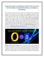 Exuberant Features Of Gladwev's OLM To PST Converter Pro Software.pdf