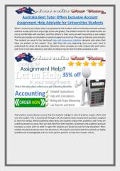 Australia Best Tutor Offers Exclusive Account Assignment Help Adelaide for Universities Students.pdf